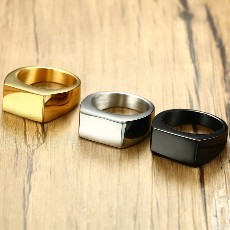 2020 Fashion Black Gold Silver Color Stainless Steel Mens Rings For Boy and Boy Friendship Men Ring Simple Jewelry Ring Male