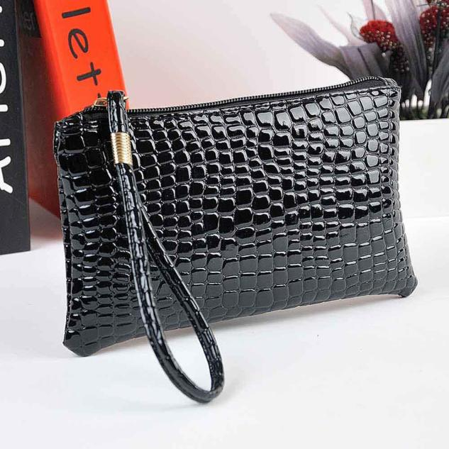 Women's Ladies Crocodile Leather Clutch Handbag Bag Coin Purse Evening Bag in women totes for summer