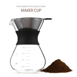 200ml/400ml Thicken Glass Coffee Pot with Handle Espresso Water Drip Coffee Maker Reusable Coffee Tea Filter Tools