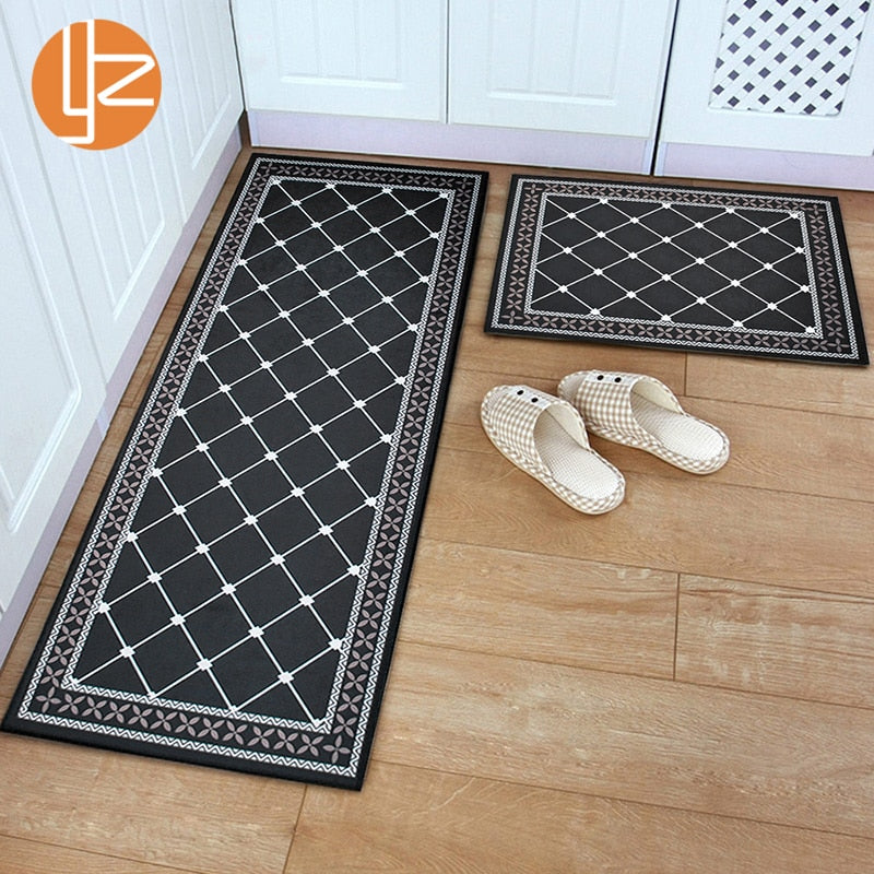 Yazi Washable Entrance Doormat  Black Funny Floor Mat Kitchen Long Carpet Outdoor Corridor Rug Front Door Entry Mats