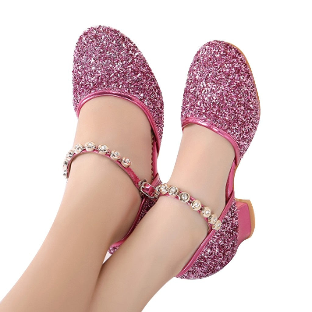 summer shoes for girls Glitter Children Girl's Rhinestone Ballroom Latin Tango Dance Shoes Heeled Shoes sandale fille9.506gg