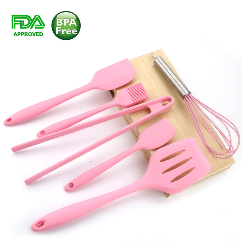 6 PICS Set Pink Silicone Backing Tools Cookware Sets Egg Beater Spoon Clip Spatula Oil Brush kitchenware 6 Dresses kitchen Tools