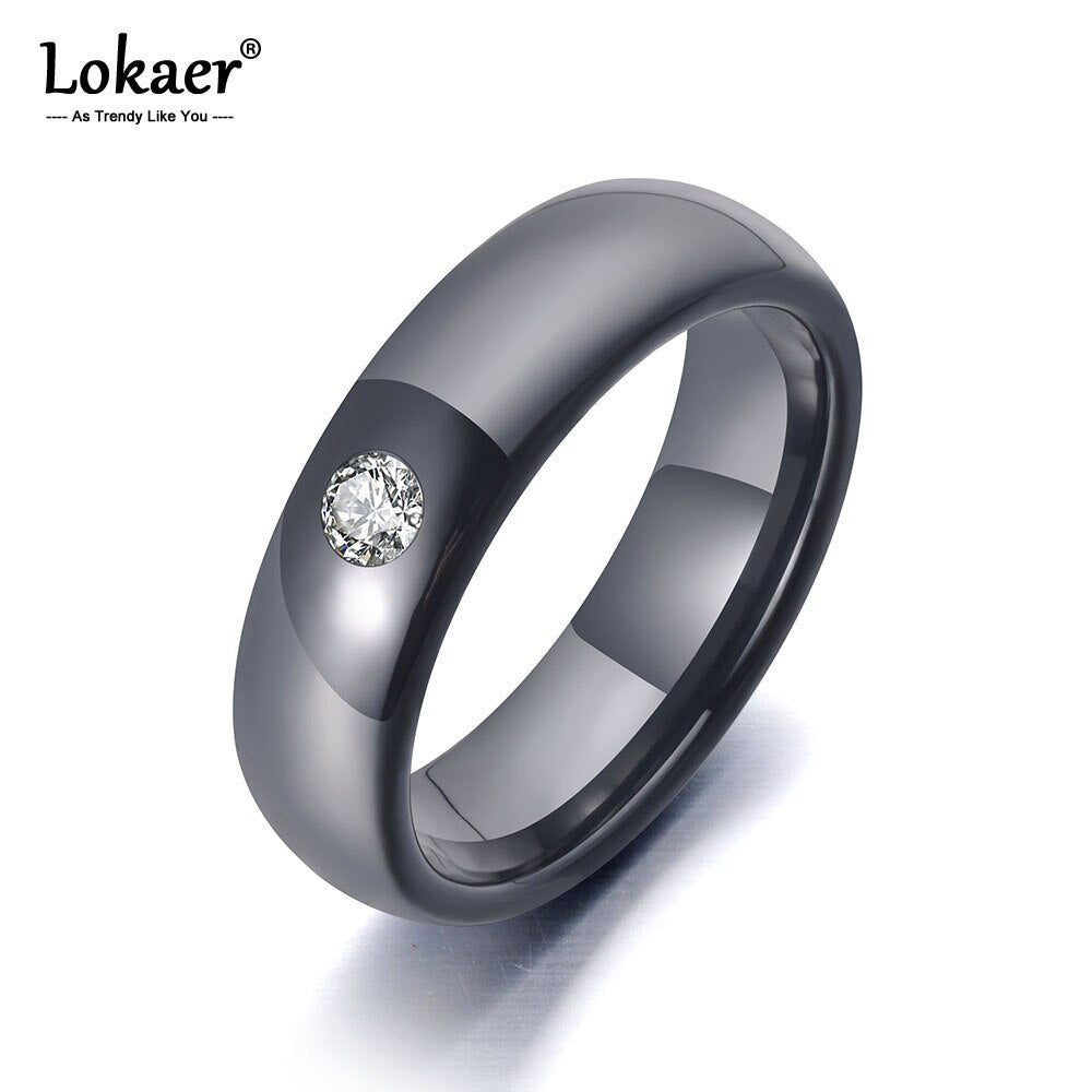 Lokaer Trendy Office Style Black Ceramic Crystal Wedding Rings Jewelry For Women Stainless Steel Rhinestone Girls' Ring R19070