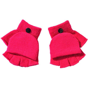 Kids Gloves To Keep Warm in Cold Weather Boys Girls Winter Hand Wrist Warmer Flip Cover Fingerless Gloves