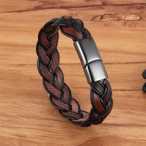 XQNI Fashion Braided Hollow Bracelet Ethnic Bohemia Style Brown Color Leather Bracelet For Men Cool Boys Birthday Party Gift