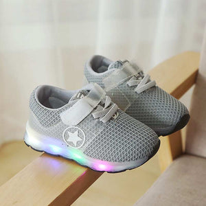 Children running shoes solid athletic shoes 2019 new breathable mesh girls & boys sneakers lighted children tennis kids sneakers