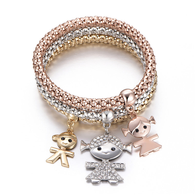 3Pcs Crystal Charm Bracelet Tree of Life Owl Anchor Music Note Boy Girl Heart Bracelets For Women Pulseria Feminina Jewelry Gift