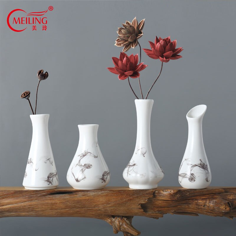 Chinese Porcelain Small Vases For Flowers Decorative Flower Pots Nordic Home Office Table Accessories Decor White Ceramic Vase