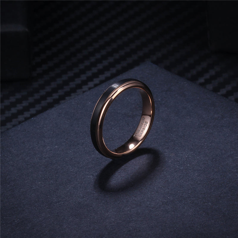 8mm/6mm/4mm Black & Rose Gold Men's Tungsten Carbide Wedding Band for Boy and Girl Valentine Rings Russian Women Cool Jewelry