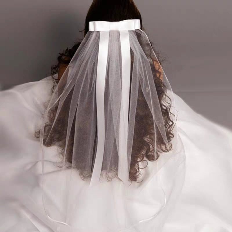 JIN IS YARN 2019 New White Ivory Kids Girls First communion Veils Tulle Bow with comb Appliques Wedding Flower Girl veil