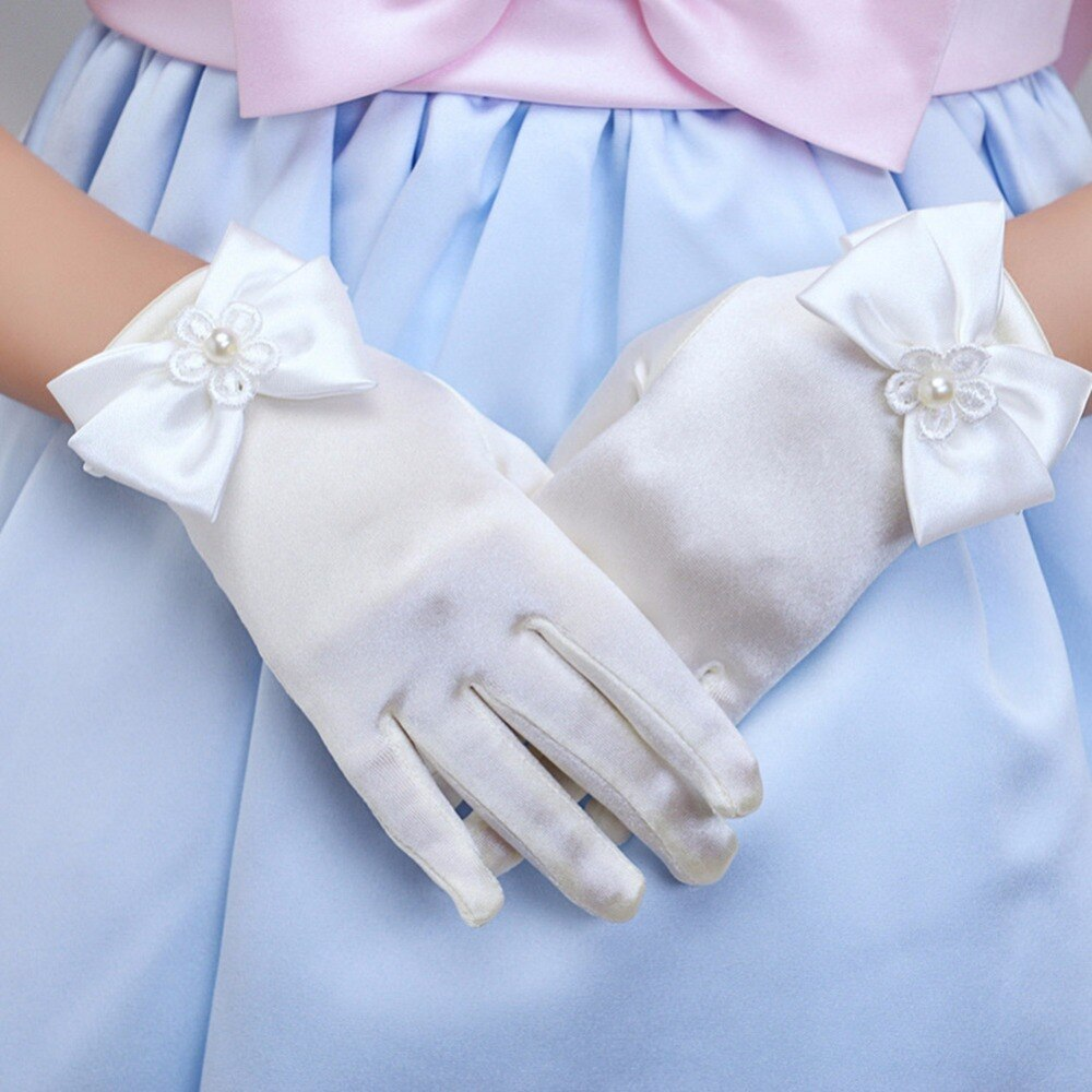 Girls Gorgeous Satin Fancy Gloves for Special Occasion Dress Formal Wedding Pageant Party Short Girls Gloves Princess Dress