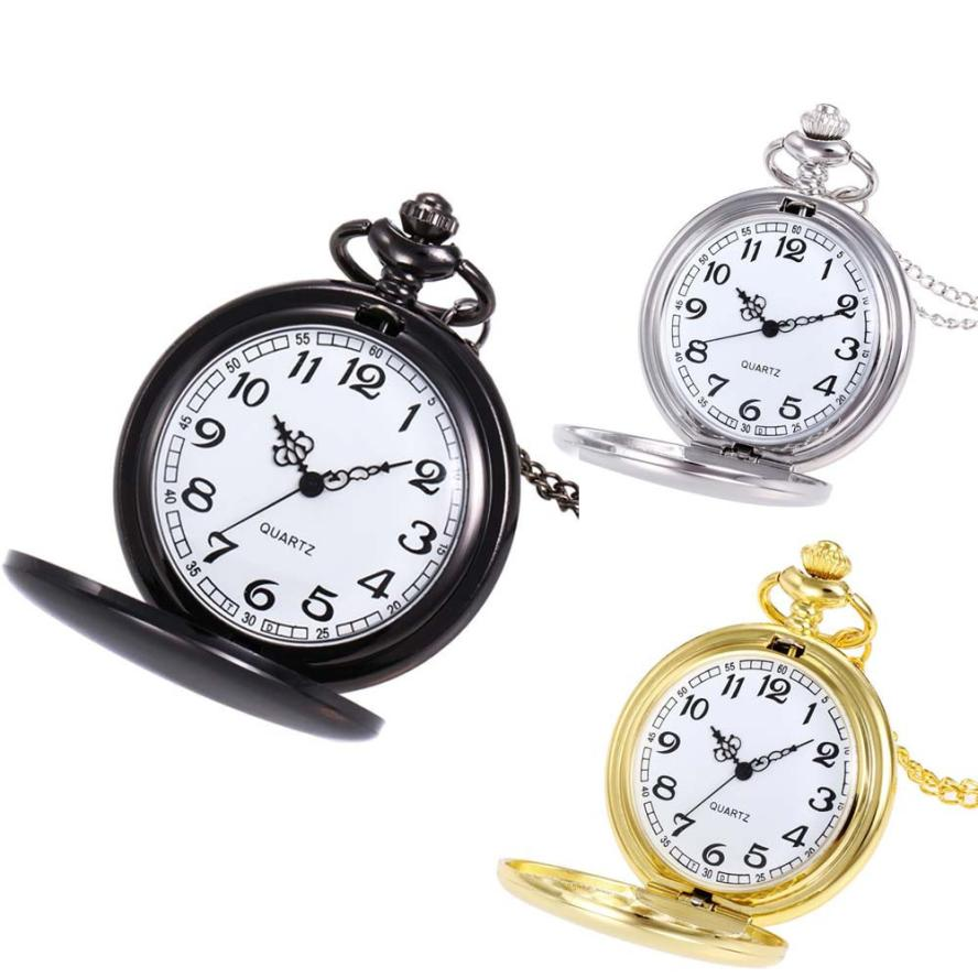 Fashion Silver/Bronze/black/Gold Polish Smooth Quartz Pocket Watch Jewelry Alloy Chain Pendant Necklace Man Women's Gift#YY