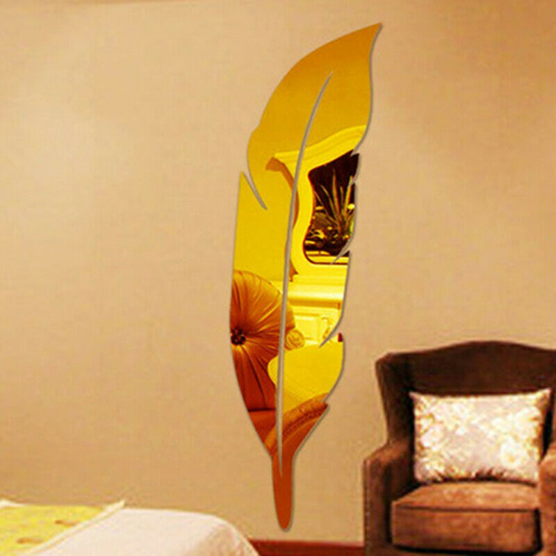 18*73cm DIY Modern Plume Style Feather Decorative Mirror Wall Stickers Room Decoration