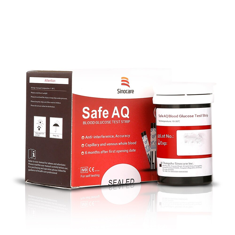 Safe AQ Smart 50/100/200pcs Blood Glucose Test Strips with Lancets Needles of for Diabetic Blood Sugar Detection Glucometer