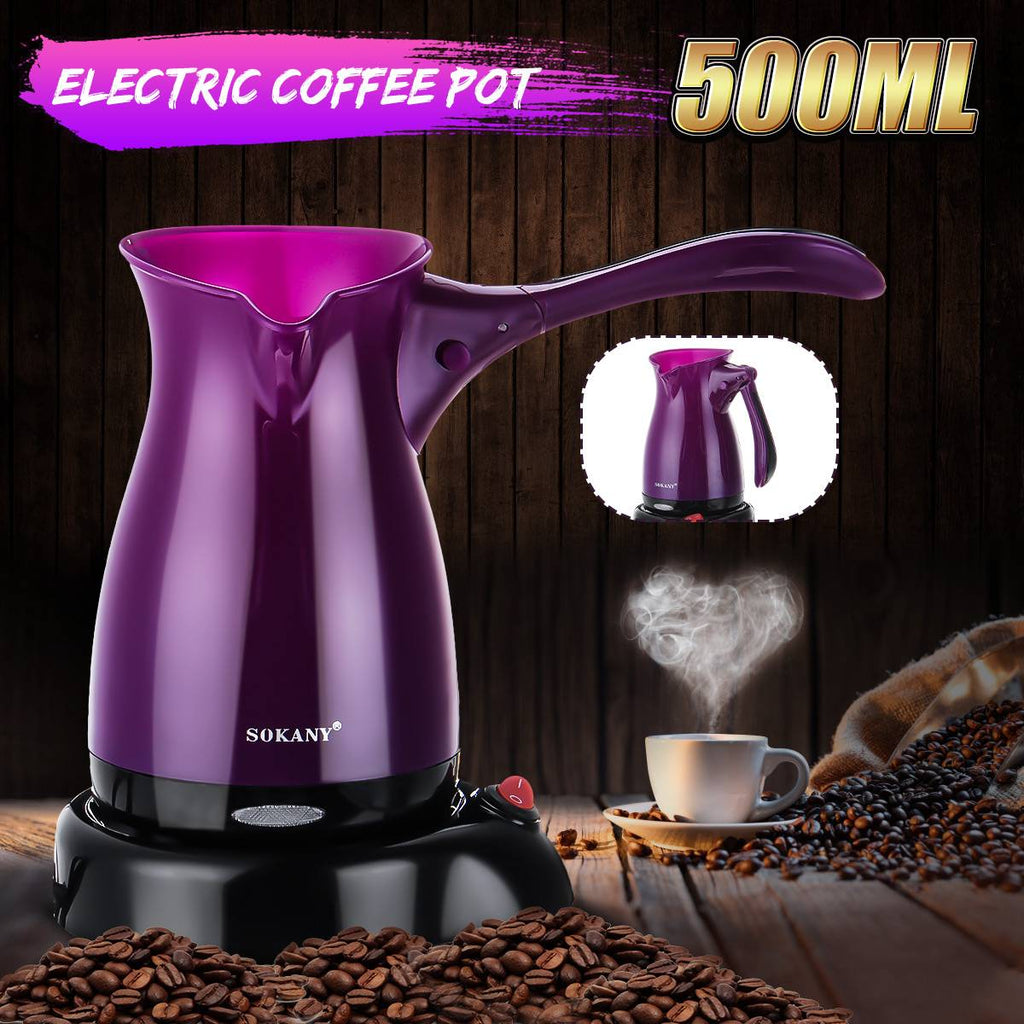 Portable Electric Coffee Maker Espresso Tea Moka Pot 220V Turkish Greek Coffee Machine Anti-slip Base Food Grade ABS Kettle