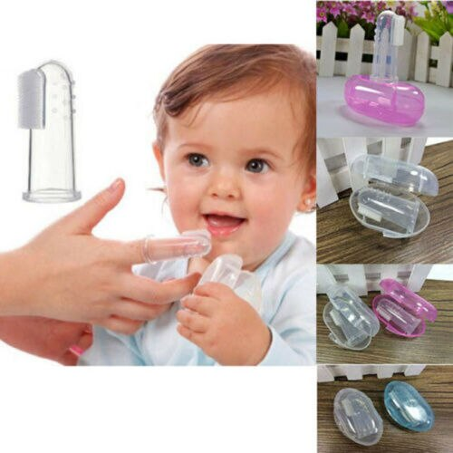 Fulljion Dental Care Baby Toothbrush Kids Silicone Finger Brush Clear Massage Soft Teether With Box For Infant Boy Girl Teeth