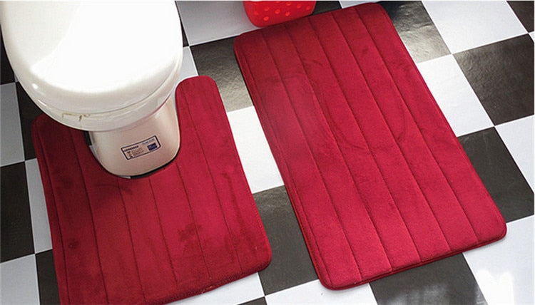 2 Pcs Simple Bathroom Mat Set U Shape Bathroom Carpet Toilet Rugs Non-Slip WC Mat High Water Absorbent Bath Rugs tapete banheiro