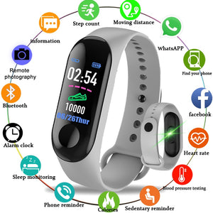 M3 Smart Sport Bracelet Wristband Blood Pressure Heart Rate Monitor Pedometer Smart Watch Women men kids Fitness Tracker