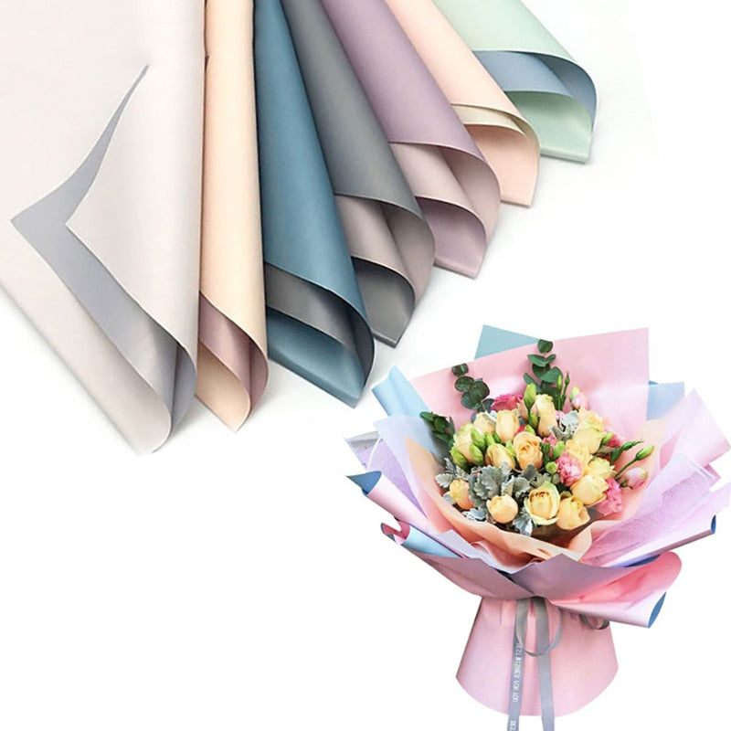 20pcs Korean Flowers Two-tone Paper Packaging Gift Wrapping Neutral Color Florist Wrapping Paper Flower Bouquet Supplies