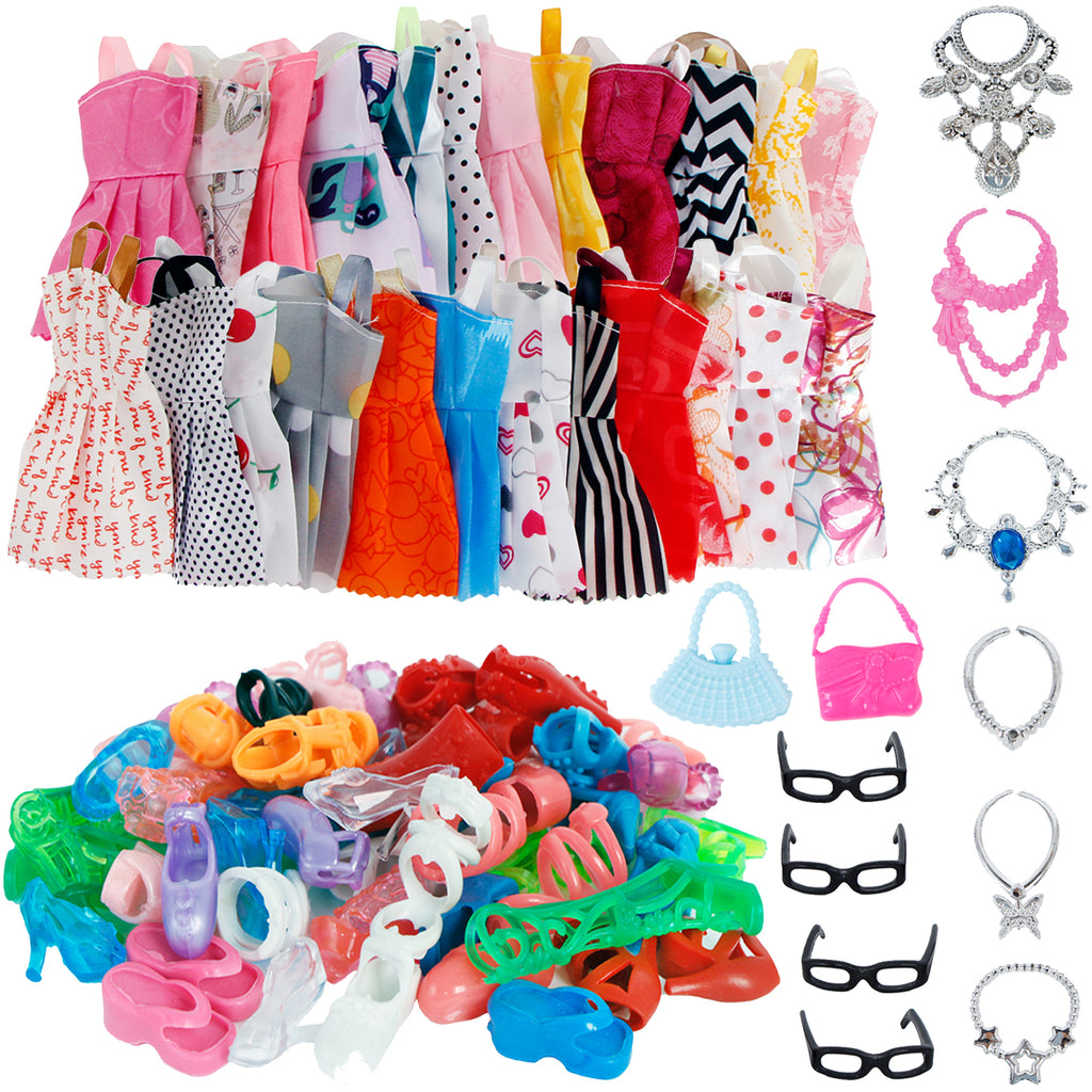 30 Item/Set Doll Accessories = 10x Mix Fashion Cute Dress + 4x Glasses+ 6x Necklaces +  10x Shoes  Dress Clothes For Barbie Doll