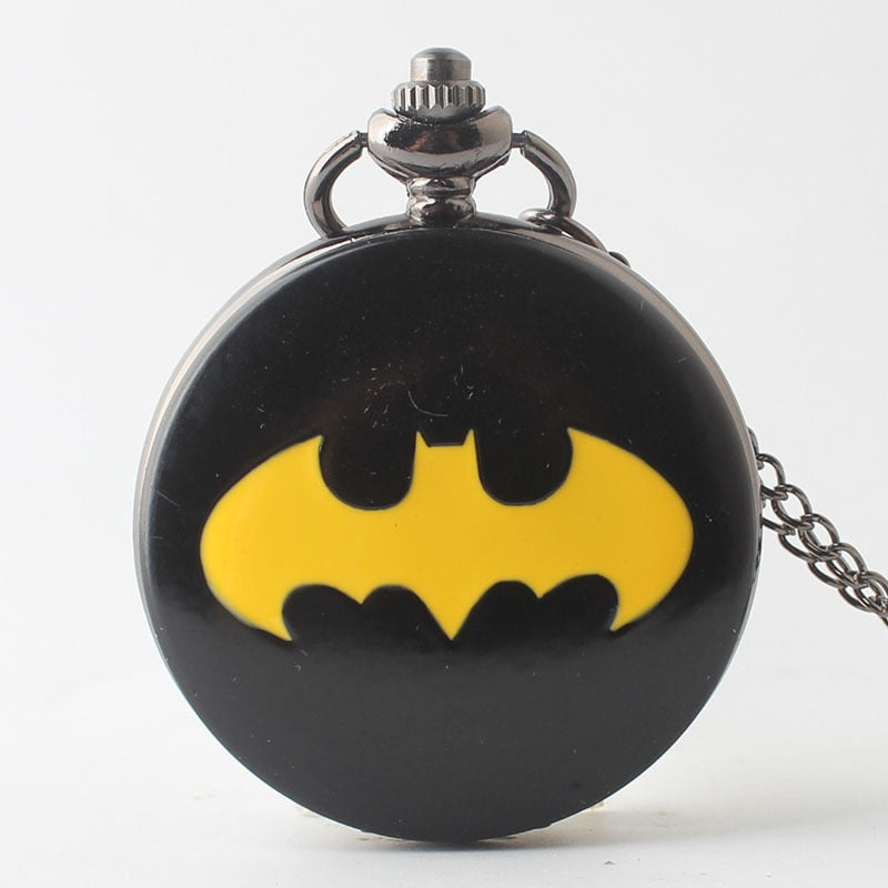 New Gifts For Children Kids Boys Batman Watches Quartz Pocket Watch Black Case Bat Locket with Fob Chain CF1167