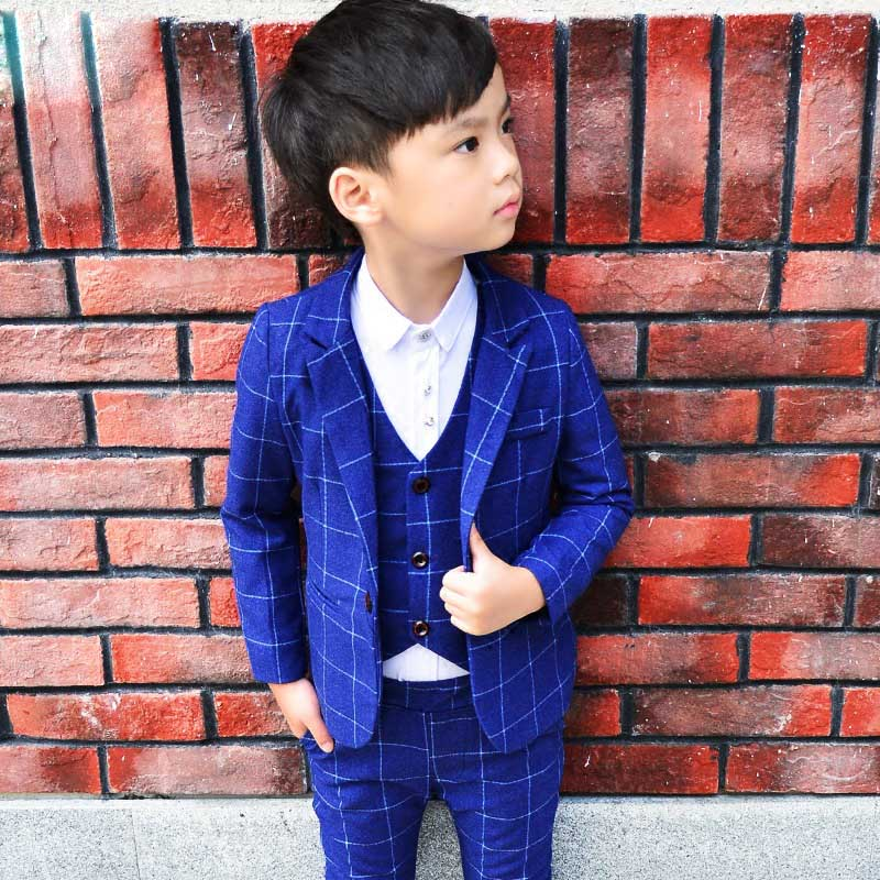 ActhInK 3PCS Kids Plaid Wedding Blazer Suit Brand Flower Boys Formal Tuxedos School Suit Kids Spring Clothing Set, C298