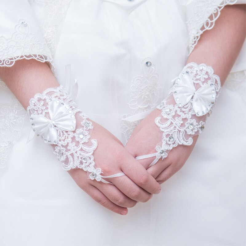 Lace Flower Girl Gloves with Beads Bow Little Girls Fingerless Special Occasion Gloves for Wedding In Stock