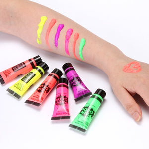 5 pcs Body Art Paint Neon Fluorescent Party Festival Halloween Cosplay Makeup Kids Face Paint UV Glow Painting
