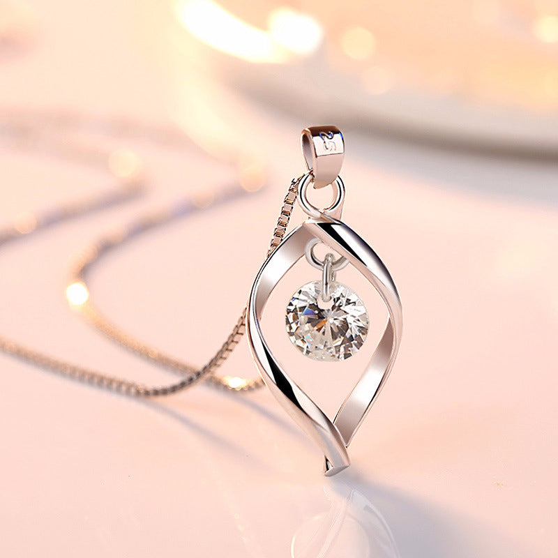 2019 Elegant 925 Sterling Silver AAA Zircon Pendant Necklaces Women Jewelry Minimalist Twist Design Crystal Necklaces & Pendants