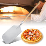 66cm Aluminum Pizza Peel Shovel with Wood Handle Silver Cheese Cutter Cake Shovel Square Pizza Peel Bakeware Cookware