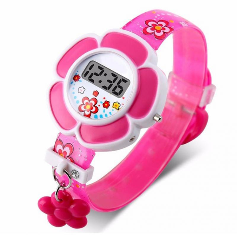 Pink Kids Watches Flower Cute Children Watches Cartoon Silicone Digital Wristwatch For Kids Boys Girls Wrist Watches Relogio