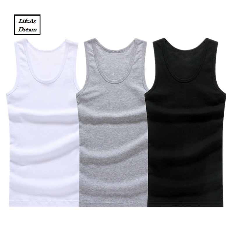 Hot Sale 3pcs/lot Cotton Mens  Underwear Sleeveless Tank Top Solid Muscle Vest Undershirts O-neck Gymclothing