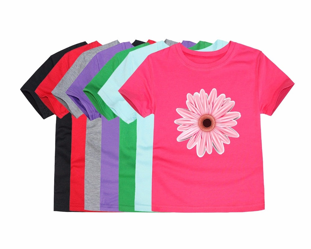12 Colors Girls Daisy Flower T Shirts Children Floral Summer Tops T Shirt for Kids Summer Clothing Baby Wears Flower Tees