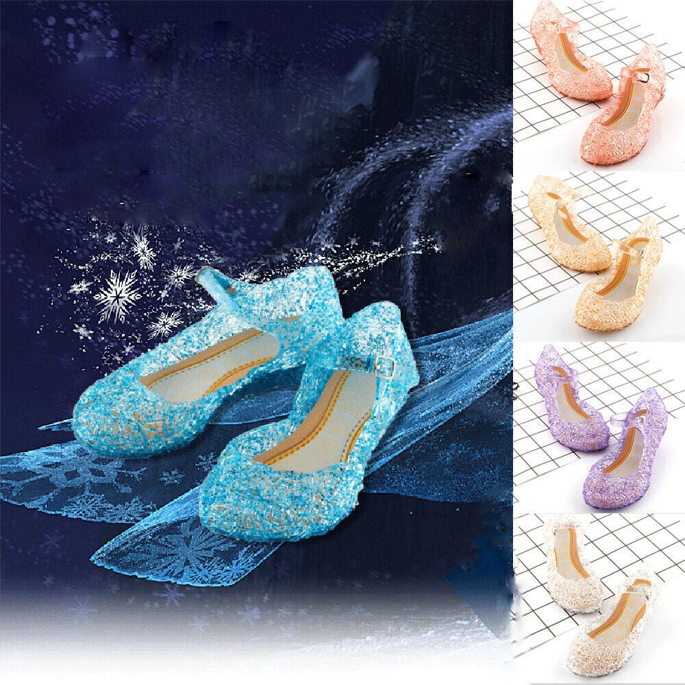 Kids Girls Crystal Jelly Sandals Princess Frozen Elsa Cosplay Party Dance Shoes