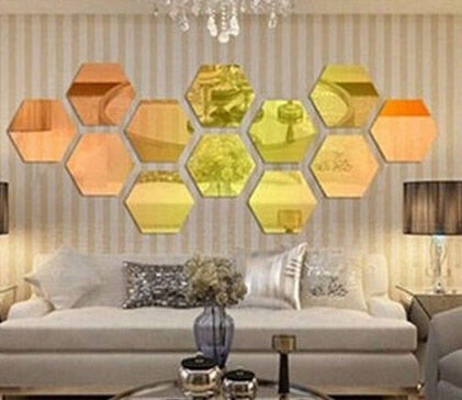 WANGSCANIS 3D Mirror Hexagon Acrylic Removable Wall Sticker Decal Home Decor NEW