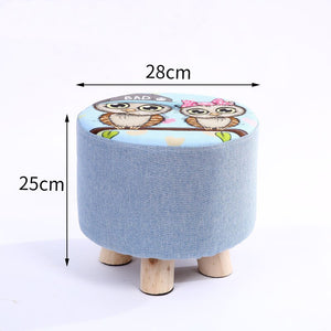 28x25cm Round Taboret Stool Wooden Bedroom Dining Furniture Shoe Rack Footstool Soft Pouf Beach Ottoman Makeup Chair (4 legs)