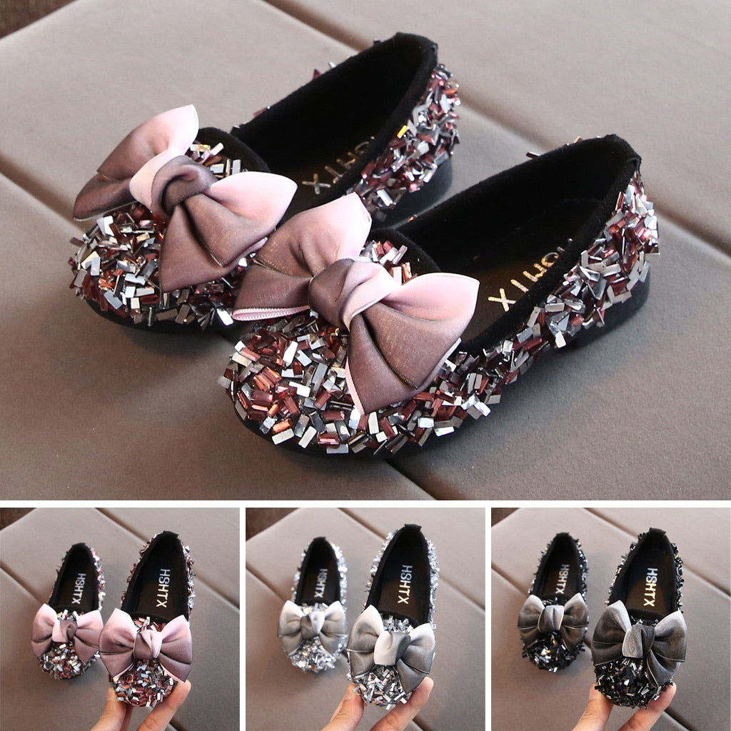 2020 Toddler Infant Kids Baby Girls Bow Crystal Bling Casual Princess Shoes Loafers Children Fashion Shoes Comfortable Flats
