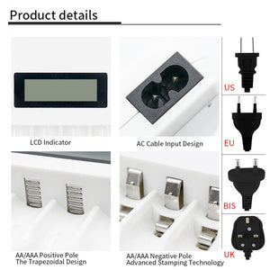 PHOMAX  LCD-004 Household battery charger Display With 4 Slots intelligent Charger For AA/AAA NiCd NiMh Rechargeable Batteries
