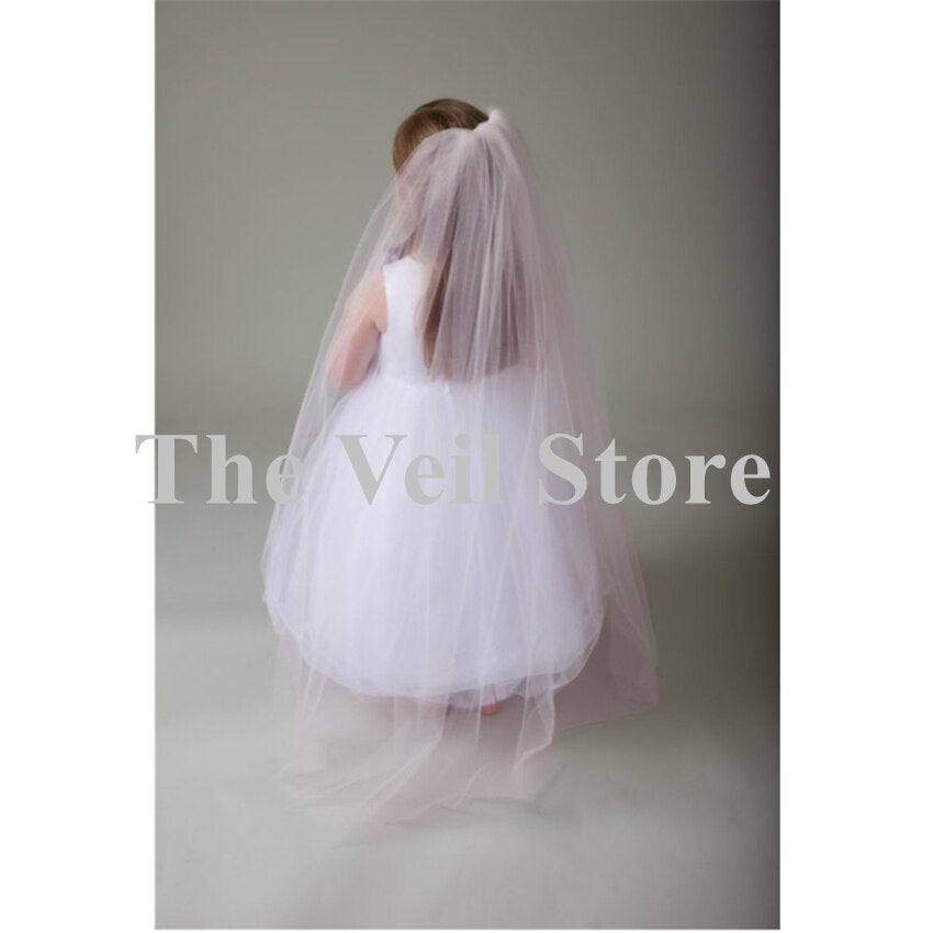 Long 1.2 m Wedding Flower Girls First communion Veils With Comb One Layer  Tulle Children Kids Veils Voile Fille velo de Novia