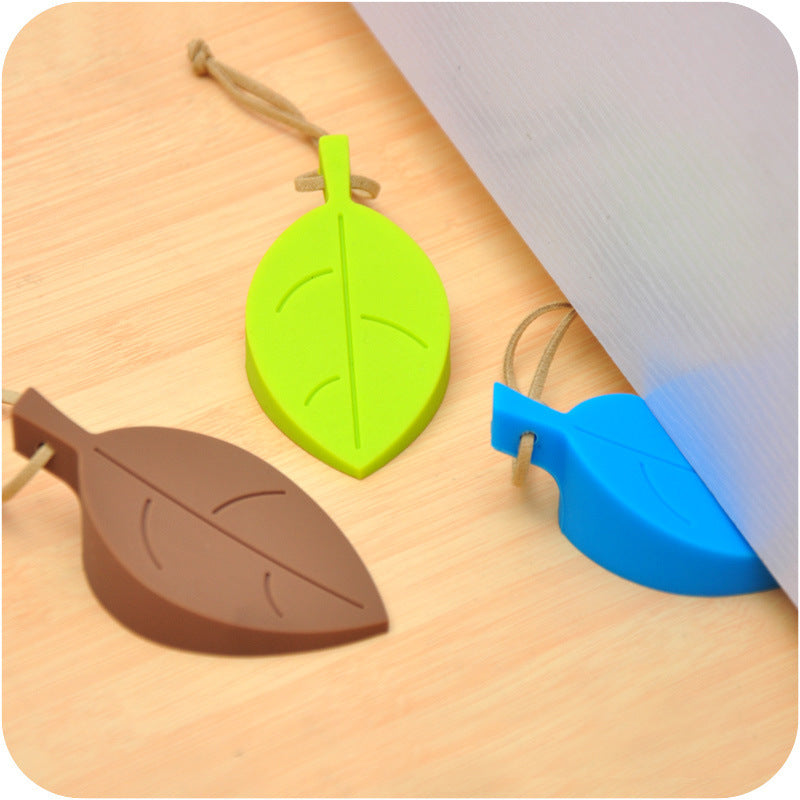 eTya 1PCS Cute Cartoon Silicone Leaf Style door stopper Holder Silicon Leaves Doorstop safety for Children baby Home decoration
