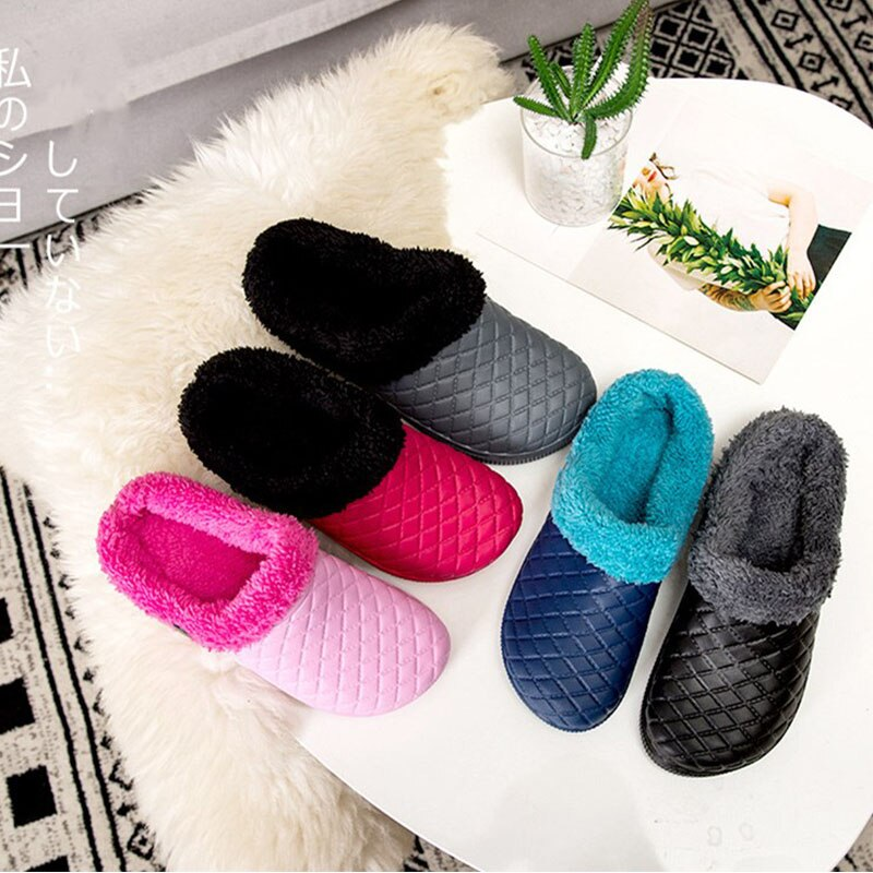 KESMALL Home Slippers For Women Indoor Plush Slippers Clogs Winter Shoes Ladies Sandals Warm Fur Slippers Girls Clogs Mules