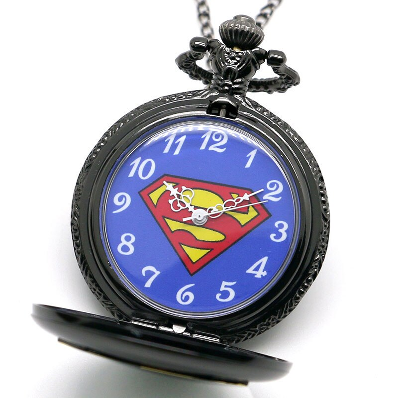 Cool Superman Pocket Watch Glossy Black Steel Case Slim Necklace Marvel Superhero Anime Clock Best Gifts for Children Boys Fans