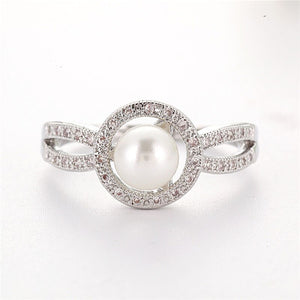 Fashion Simulated-pearl Rings for Women Romantic Engagement Wedding Rings Trendy Party Banquet Female Rings Girls' Gift L4L156