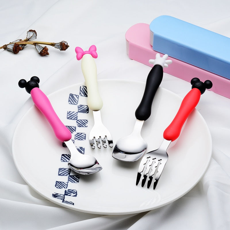 Lovely Mickey Minnie Stainless Steel Fork Spoon Kids Flatware Set Child Soft Silicone Handle Children Cutlery Dinnerware