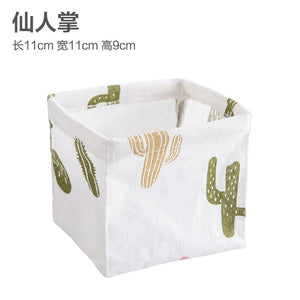 Coloffice 1PC Simple Cute Cactus Pine Tree Stripe Pattern Flax Stationery Holder Multifunction Desktop Storage Office Supplies
