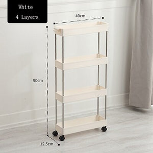 Magic Union Bathroom Quilted Storage Rack Four Layers Kitchen Narrow Cabinet Living Room Foor-standing Gap Shelf