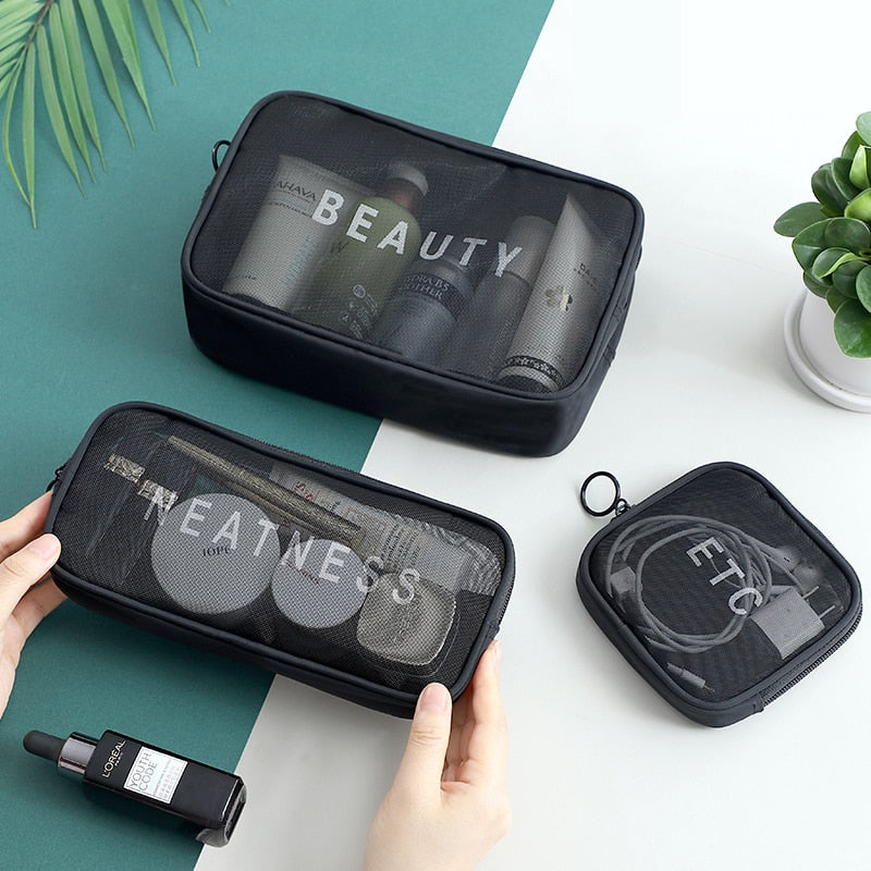 Women Travel Cosmetic Bag Casual Zipper Make Up Transparent Makeup Case Organizer Storage Pouch Toiletry Beauty Wash Kit Bags
