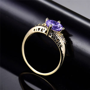 BUDONG Fashion Rings for Women 2017 Round Brilliant Gold-Color Purple Crystal Zicronia Girls' Engagement Ring XUR118