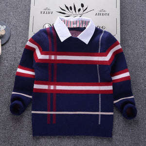 Autumn Boys Sweater Plaid Children Knitwear Boys Cotton Pullover Sweater Kids Fashion Outerwear T-shirt 2-8T clothes