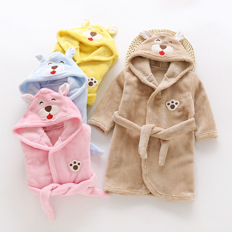 Autumn Winter Children Sleepwear Robe Flannel Hooded Warm Bathrobe Kids Pajamas For Boys & Girls Lovely Cartoon Animals Robes
